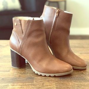 Leather Bootie with Thick Heel